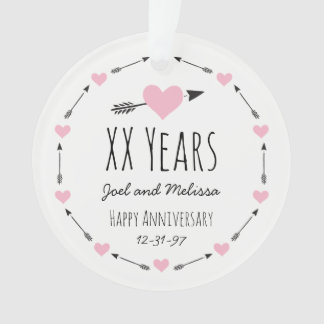 Hearts and Arrows Personalized Wedding Anniversary Ornament