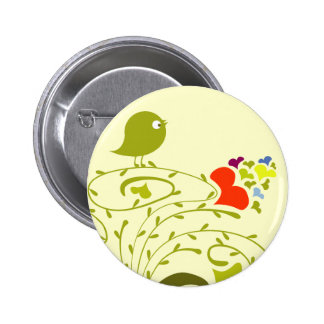 Hearts And Birdie On A Cute Tree 6 Cm Round Badge