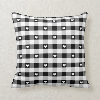 Hearts and Black and White Gingham Pillow