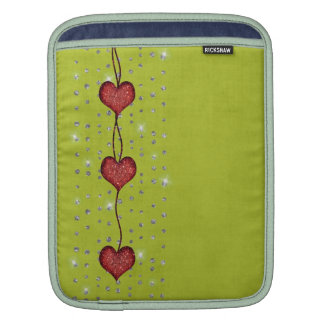 Hearts and Bling look On Bright Green - Mac Sleeve Sleeves For iPads