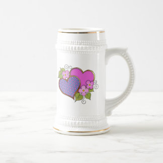 Hearts and Blossoms - Shocking Pink Blue Beer Steins