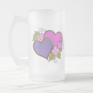 Hearts and Blossoms - Shocking Pink Blue Frosted Glass Mug