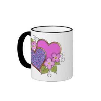 Hearts and Blossoms - Shocking Pink Blue Ringer Mug