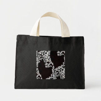 Hearts and Blossoms Tiny Tote Black and White
