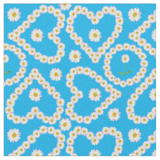 Hearts and Circles Daisy Chains Blue Custom Fabric