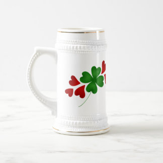 Hearts and clovers St Patricks Day Beer Stein