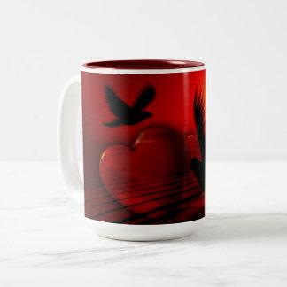 Hearts and Doves Two-Tone Mug