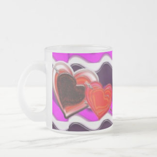 Hearts and flower frosted glass mug