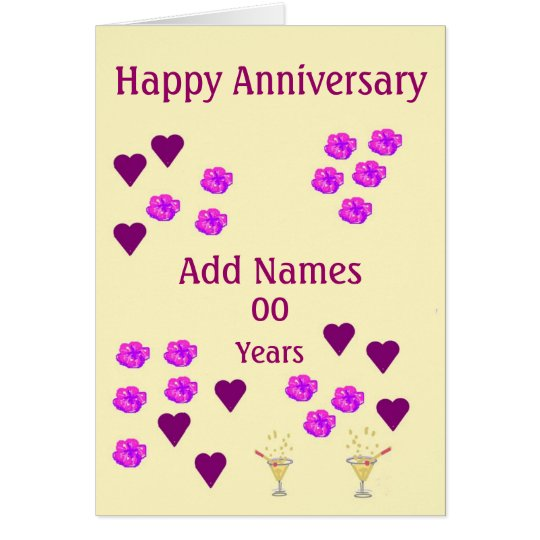 Hearts and Flowers, custom Wedding Anniversary Card