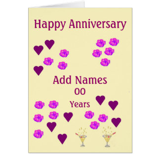 Hearts and Flowers, custom Wedding Anniversary Greeting Card