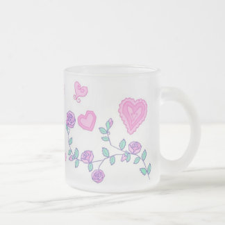 Hearts and Flowers Frosted Glass Mug
