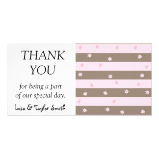 Hearts and flowers stripes picture card