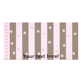 Hearts and flowers stripes photo cards