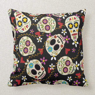 Hearts and Flowers Sugar Skulls Throw Pillow