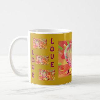 Hearts and Flowers Sunburst Colors Coffee Mugs
