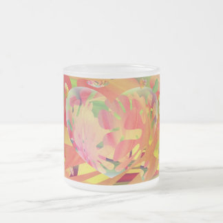 Hearts and Flowers Sunburst Colors. Frosted Glass Mug
