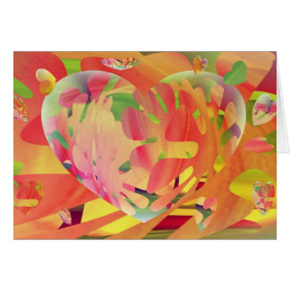 Hearts and Flowers Sunburst Colours Greeting Card