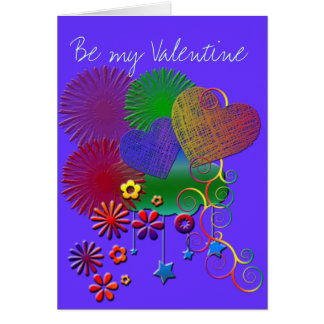 Hearts and Flowers Valentine Greeting Card