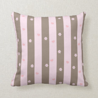 Hearts and Flowers Vertical Stripe Pattern Cushion