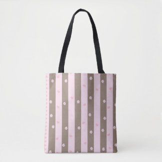 Hearts and Flowers Vertical Stripe Pattern Tote Bag