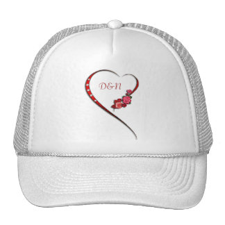 Hearts and flowers wedding initials cap
