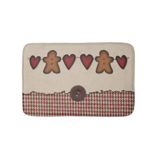 Hearts and Gingerbread Man Bath Mat