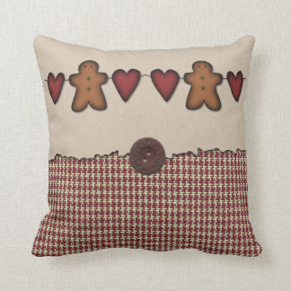 Hearts And Gingerbread Men Pillow