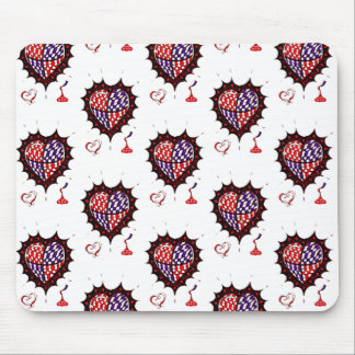 Hearts and Kisses graphic mousepad