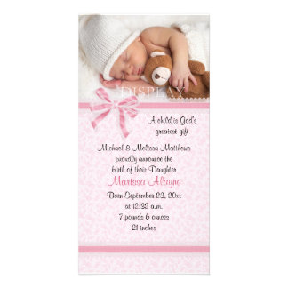 Hearts and Lace Photo Birth Announcement Personalized Photo Card