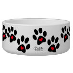 Hearts And Pawprints Dog Water Bowl
