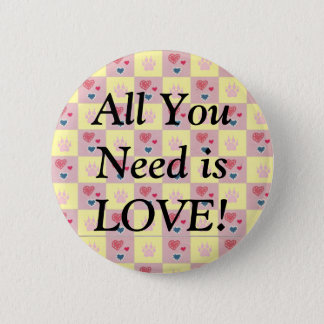 Hearts and Paws Checkerboard 6 Cm Round Badge