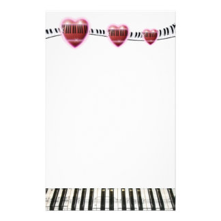 Hearts and Piano Keyboard Personalized Stationery