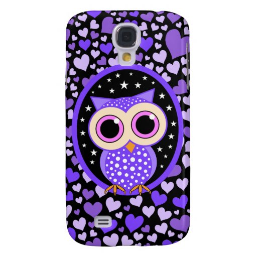 hearts and purple owl samsung galaxy s4 case
