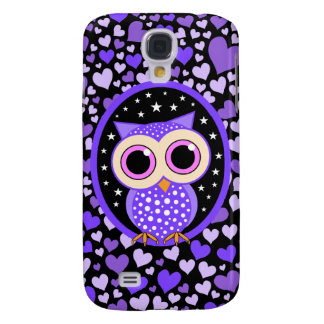 hearts and purple owl galaxy s4 case
