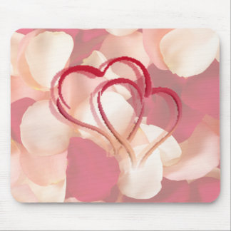 hearts and rose petals mouse pad