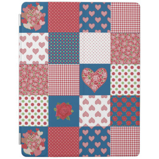 Hearts and Roses Faux Patchwork iPad Cover