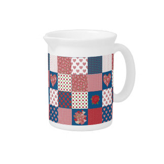 Hearts and Roses Faux Patchwork Pitcher or Jug