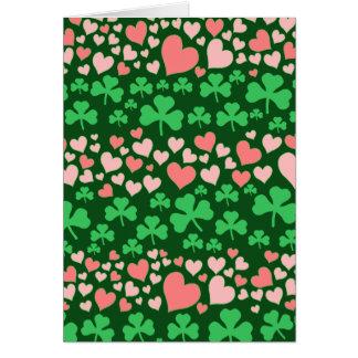 hearts and shamrocks greeting card