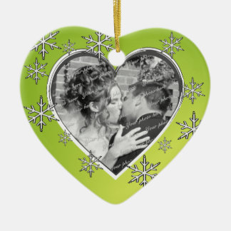 Hearts and Snowflakes Christmas Ceramic Heart Decoration