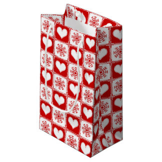 Hearts and Snowflakes Christmas Pattern Small Gift Bag