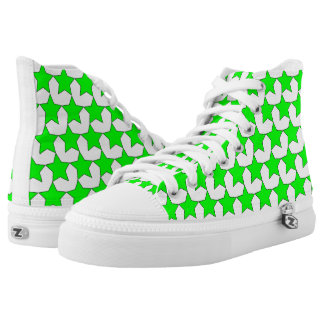 HEARTS AND STARS GREEN/WHITE HIGH-TOP SNEAKER