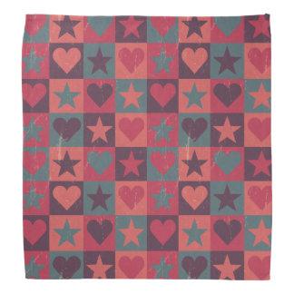 Hearts And Stars Pattern Pink Bandana