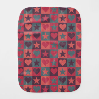 Hearts And Stars Pattern Pink Burp Cloth
