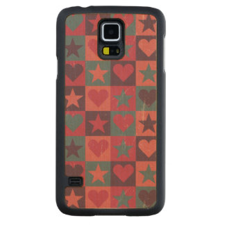 Hearts And Stars Pattern Pink Carved Maple Galaxy S5 Case