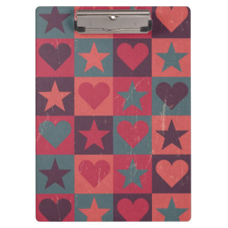 Hearts And Stars Pattern Pink Clipboard