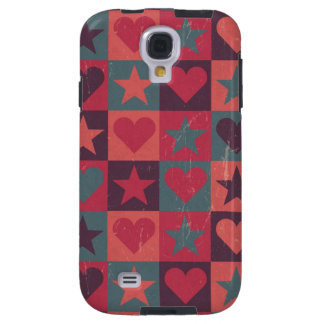 Hearts And Stars Pattern Pink Galaxy S4 Case