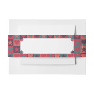 Hearts And Stars Pattern Pink Invitation Belly Band