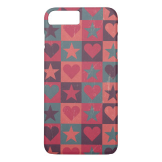 Hearts And Stars Pattern Pink iPhone 8 Plus/7 Plus Case