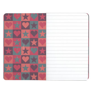 Hearts And Stars Pattern Pink Journal