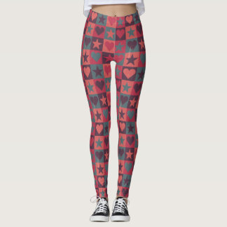 Hearts And Stars Pattern Pink Leggings